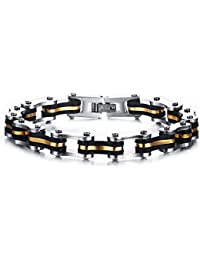 Vnox Pulsera de pulsera de la cadena de la bici de la motocicleta del silicón del acero inoxidable de los hombres con la línea del oro,plata