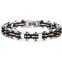 Vnox Wristband Uomo Acciaio silicone Motociclista Catena con Gold Line,Argento