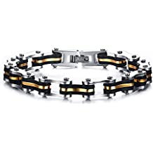 Vnox Acier inoxydable pour hommes Chain Silicone Motorcycle Bike Wristband Bracelet avec Gold Line,Argent