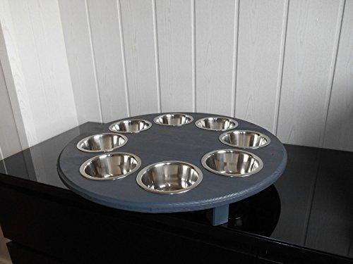 Welpenbar/ Welpennäpfe / Welpenfutter, tolle Futterbar mit 8 Edelstahlnäpfen mit je 350 ml. Handgefertigtes Welpenzubehör und Tierbedarf. Lackierung in anthrazit! (8B)