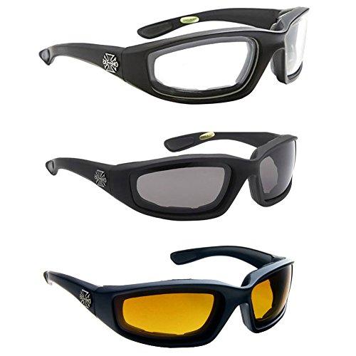 Glasses by me Aviator einen.Kreislauf.durchmachentreibende Polarisiert Geek Lese Mode Rahmen 3 Paar Combo Chopper Padded Wind Resistant Sonnenbrille Stil Motorrad-Reitglas 55.88 klar Mittel Schwarz