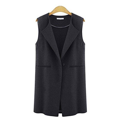 TWIFER Damen Ärmellose Jacke Lange Strickjacke Gilets Weste Outwear Mantel Cardigan (S, Schwarz)