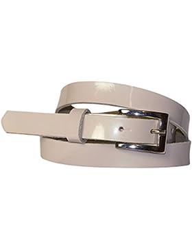 FRONHOFER cinturón lacado estrecho, 2 cm, hebilla plateada rectangular señora 18242