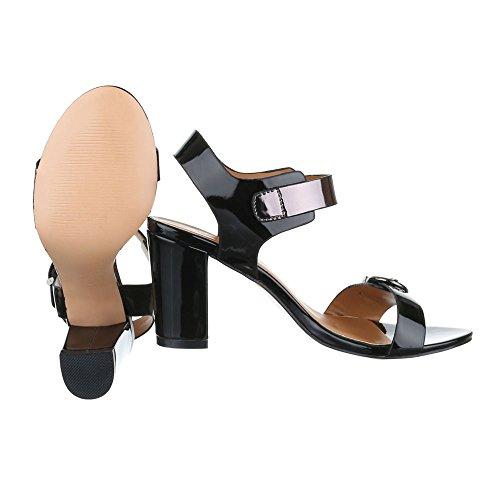 Ital-Design High Heel Sandaletten Damenschuhe Plateau Pump Moderne Schnalle Sandalen/Sandaletten Schwarz
