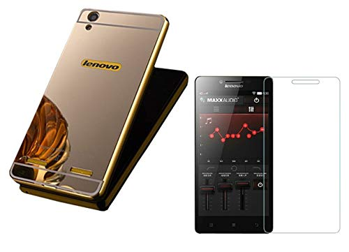 KTC Plus_Golden Metal Bumper Acrylic Mirror Back Cover with Tempered Glass for Lenovo A6000/A6000 Plus/A6000+