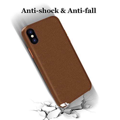 Apple iphone X coque,iphone 10 coque, Bepack imperméable en cuir Slim couverture arrière pour Apple Apple iphone X,iphone 10ajusté coque protectrice résistant antichoc sur le cas 5,0 pouces Soft Inter café