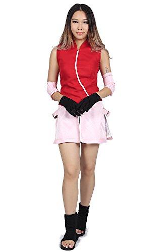 De-Cos Naruto Shippuden Hidden Leaf Genin Haruno Sakura Outfit 2nd Ver (Girl Anime Kostüm Ninja)