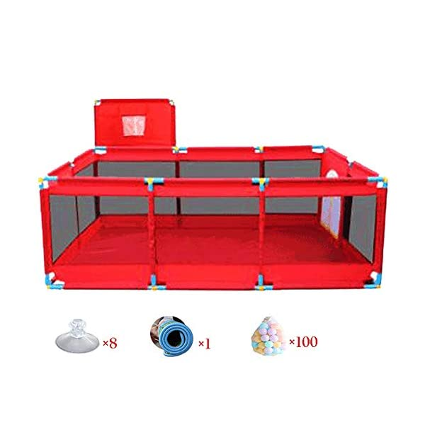 Playpens Extra Large Play Yard Baby with Basketball Hoop, Mat and Balls, Toddler Portable Playard Children's Game Fence, Red Playpens  1