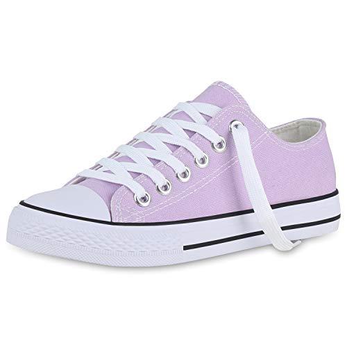 SCARPE VITA Damen Sneaker Low Basic Canvas Turnschuhe Sportschuhe Schnürer Freizeit Schuhe Schnürschuhe Flats 176737 Lila 39