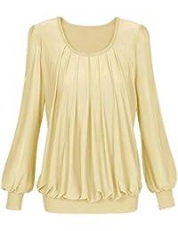 Mujer Manga Larga Color SóLido Doblar Camiseta Top,Belasdla Casual BotóN Color SóLido Doblar Camisetas
