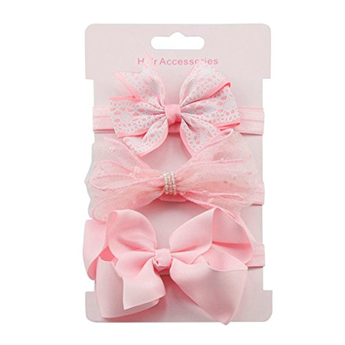 K-youth® 3pcs Niños Elásticos Diadema Floral Pelo Niñas Bebé Bowknot Hairband Conjunto Mariposa Niñas Banda Para La Cabeza Diadema Bebé (Rosa B)