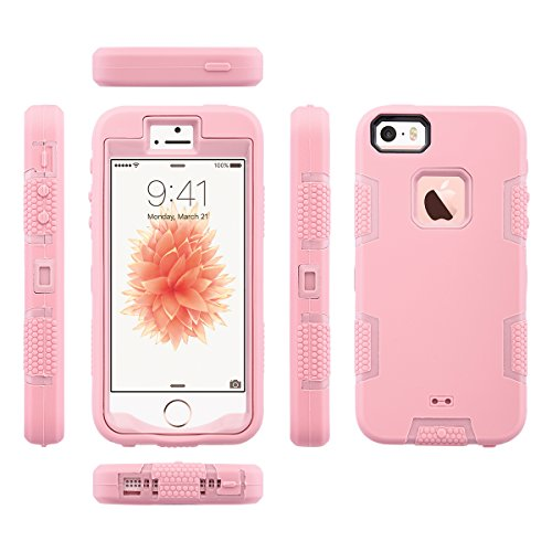 iPhone 5s SE Hülle, ULAK iPhone 5S Case 3in1 Stoßfest Hybrid High Impact Hart PC und Weiche Silikon Schutzhülle Tasche Case Cover für Apple iPhone 5/5S/SE (Schwarz+Lila) 3in1-Rosé Gold
