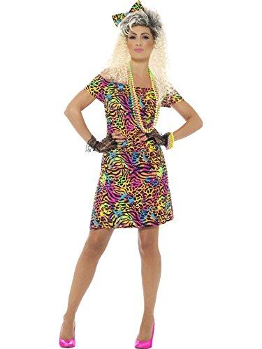 Smiffys, Damen 80er Jahre Party Tier Kostüm, Kleid und Haarschleife, Größe: 40-42, 45952