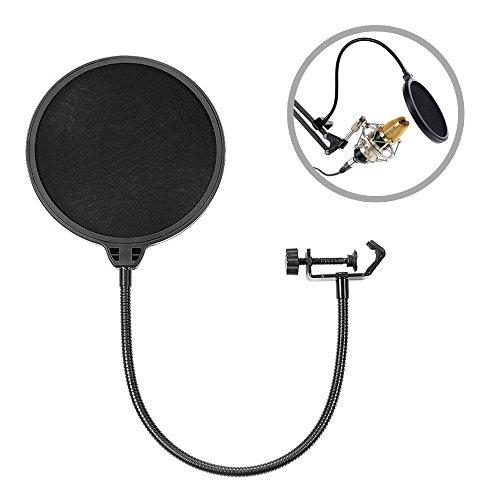 ilauke Studio Mikrofone Profi Windschutz Pop-Filter Popschutz Popkiller Mikrofon Mic Runde Form Maske Schild mit Stand Clip