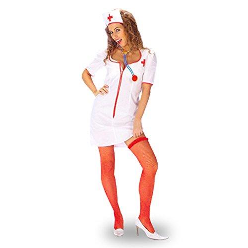 Krankenschwester Outfit (2-tlg) sexy Minikleid & Haube, Fasching Damen Kostüm - (Outfit Krankenschwestern Sexy)