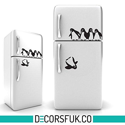 Küche Penguin (Pinguine Kühlschrank Aufkleber Schwarz, selbstklebend, Trageempfinden A4Größe–Art Decor/Wanddekoration/Küche Aufkleber)