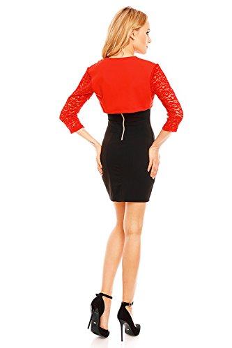 Damen Bolero Schulter Jäckchen Spitze ideal zum Abenkleid Cocktailkleid Kleid Rot