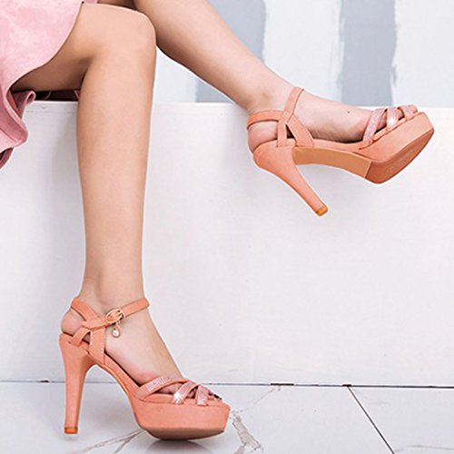 Oasap Women's Peep Toe Rhinestone Buckle Stiletto Heels Sandals Black