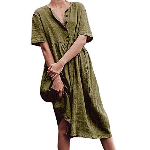 LILIHOT Frauen O-Neck Button Pure Farbe Kurzarm Baumwolle Und Leinen Einfaches Kleid Damen Frühling Kleid Vintage Mini V-Ausschnitt Kurzarm Knöpfe Baumwolle Lässige Kleidung Streetwear Sommerkleid -