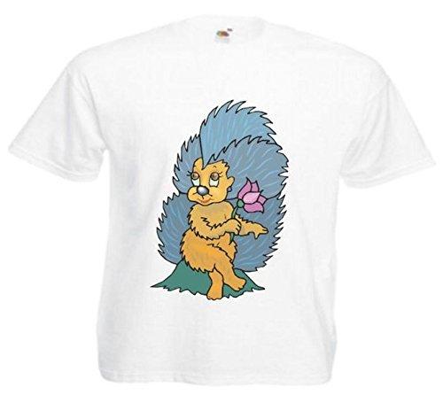Motiv Fun T-Shirt Stachelschwein & Blume Cartoon Spass Kult Film Motiv Nr. 11905 Weiß