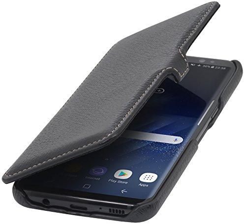 StilGut Book Type Case mit Clip, Hülle Leder-Tasche für Samsung Galaxy S8. Seitlich klappbares Flip-Case aus Echtleder für Das Original Samsung Galaxy S8, Schwarz