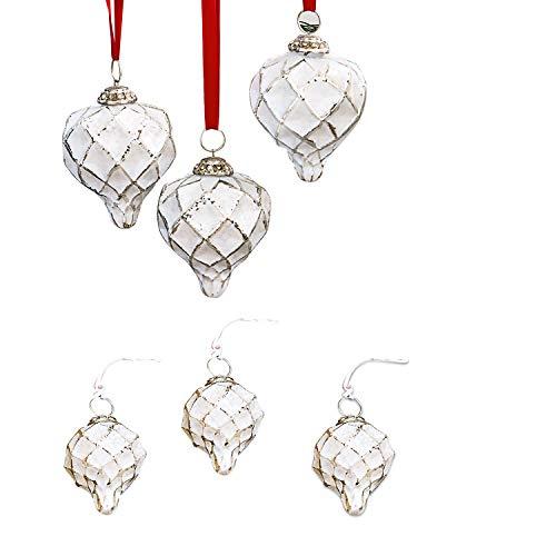Loberon Weihnachtsschmuck 6er Set Cyrano, Messing/Glas, H/Ø ca. 10/10 cm, antiksilber