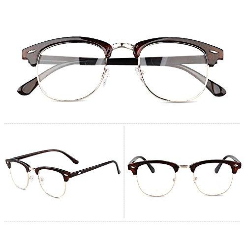 Sonnenbrillen Frame Flache Brille Mit Linsen Männlichen Damen Vintage-lopard Druck Myopia-brillen Rahmen Teafarbig (Taschenklatsche)