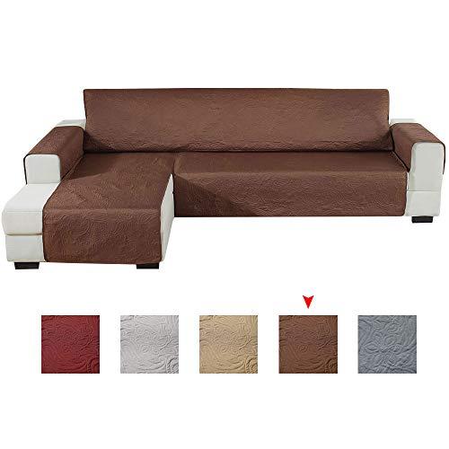Enjoygoeu copridivano con penisola impermeabile,sofa cover salvadivano angolare con goffratura,a forma di l a sinistra o destra,adatto per cani gatti,240x270cm (marrone, sinistra)