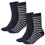 TOMMY HILFIGER Damen Socken Stripe Casual Socken 4er Pack, Mehrfarbig (58810-midnight blue-563), Gr. 39/42