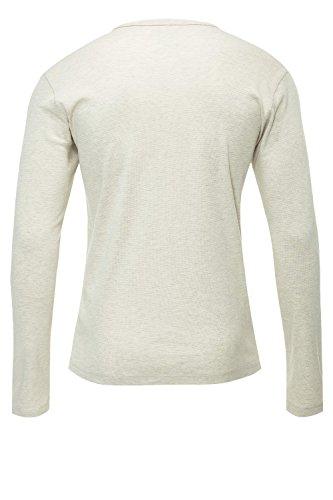 Jack & Jones Herren Langarmshirt Henley Shirt Longsleeve White Melange