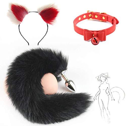 Jjek Cos-Butterfly Fliege Kragen, Black Fox Metal Tail Plüsch und Multicolor Cat Ears Glamour Weibliche Maskerade Requisiten 3er Set Massage Cosplay Kostüm Requisiten (Color : White+Red#2, Size : S) (Red Fox Tail Kostüm)