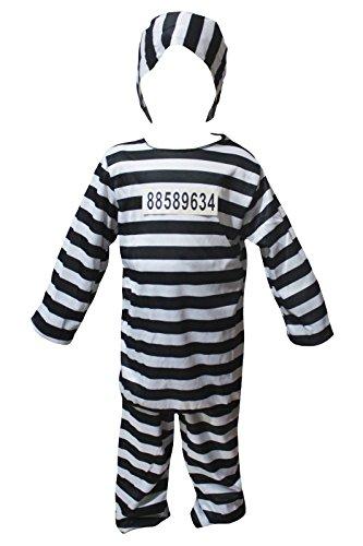 petitebelle Halloween-Kostüm schwarz weiß Gefangene Party Kleid bis für Kinder Gr. Größe L, mehrfarbig