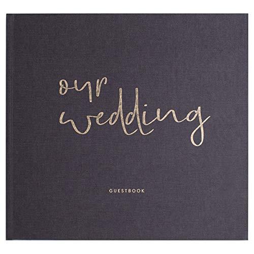 JO & JUDY Hochzeitsgästebuch Our Wedding - Fragen zum Ausfüllen - Hardcover Buch mit 92 Seiten und Platz für Fotos - Graues Gewebe mit goldener Prägung - 27 x 25 cm
