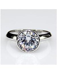 1,5 Ct Juego de bisel de corte brillante redondo diamantes 14 K oro blanco anillo de compromiso, boda, todos los…