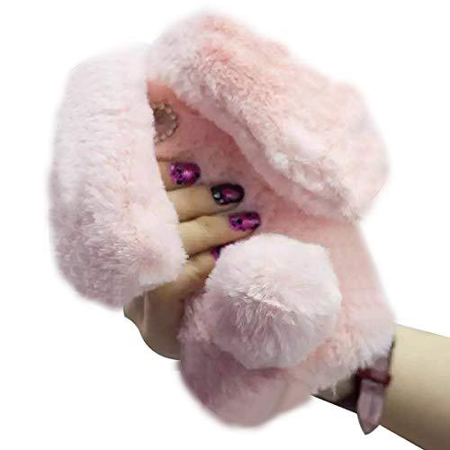 Ostop 3D Plüsch Hasenohren für iPhone 5S Hülle,iPhone 5 Hülle,iPhone SE Hülle, Rosa Flauschige Winter Warm Weich Pelz Abdeckung mit Glitzer Bling Strass,Niedlich Kaninchen Schwanz Ball Schutzhülle
