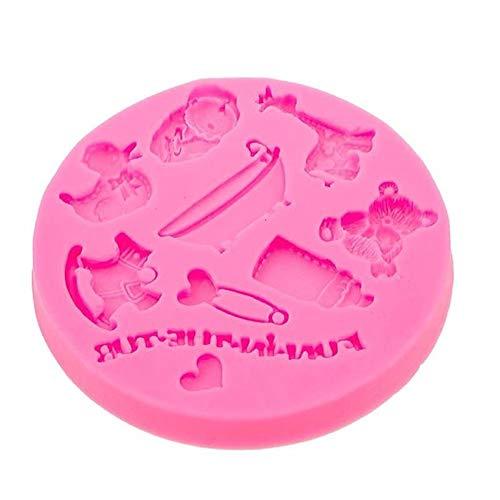 FOReverweihuajz Schöne Bären-Giraffe Ente Baby-Spielzeug Fütterung Flasche Silikon-Form, Fondant Kuchen Schokolade Süßigkeiten Dekorations Werkzeug-Pink (Ente Kuchen-form)