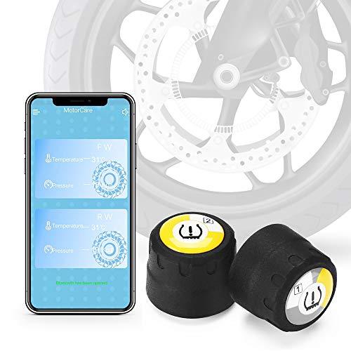 Motorrad TPMS Wireless BT4.0 Digital Motorrad Reifendruckprüfer Überwachungssystem mit 2 externen Sensoren Alarm Warnung für iPhone iOS Android Handy App
