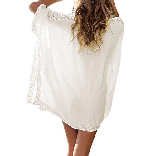 West See Damen Bikini Cover Up Nachtwäsche Sommer Kimono Chiffon Kleid durchsichtig Spitze Blumen Tunika Pareos Weiß