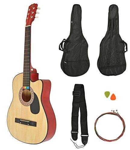 Akustik Western Gitarre Natur + Gitarrentasche + Gurt + Saiten