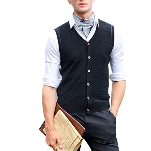 Zhuhaitf weich Mens Mans Middle-aged Slim Wool Sleeveless V-neck Pullover Knitted Vest Gilet Knitwear Jumper Sweater Cardigans for Valentines Birthday Christmas (Sleeveless Black V-neck Knit Sweater)