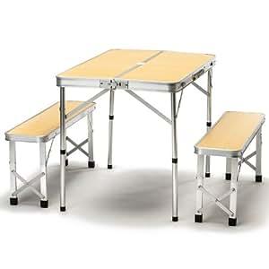skandika picknick tisch set camping holzoptik 16204 sport freizeit. Black Bedroom Furniture Sets. Home Design Ideas