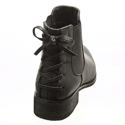 Angkorly Chaussure Mode Bottine Chelsea Boots Femme Noeud Lacets Talon Bloc 3 cm - Intérieur Fourrée Noir