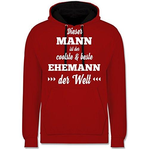 Typisch Männer - Dieser Mann ist der coolste und Beste Ehemann - S - Rot/Schwarz - JH003 - Kontrast Hoodie (Coolsten Kostüm Ideen)