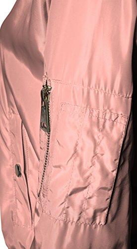 Frauen Bomberjacke mit Reißverschluss Innentasche lange Ärmel leichter Stoff Nylon - 4