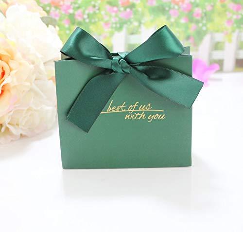Flowow 24 pz verde 14*12*6 cm marsupio pacchetto tasche kraft sacchetto regalo carta confezione cookie con motivi di fiori scatola portaconfetti scatolina bomboniere segnaposto con nastrino per matrimonio giorno delle nozze compleanno battesimo comunione nascita laurea festa natale