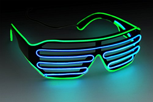 Ucult EL-Soundbrille LED Brille EL-Partybrille Shutterbrille Jalousie Brille (Grün / Blau)