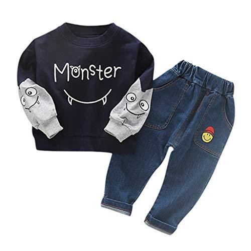 Realde--Baby Jungen Langarm Top Sweatshirt+Lange Hosen Set Mode Freizeit Cartoon-Monsterkind Infant Sport T-Shirt Oberteile Herbst und Winter Trainingsanzug Outfits Kleidung