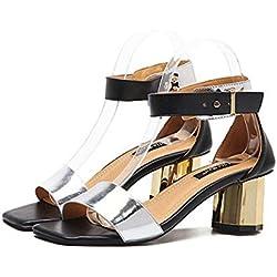 Pumps Chunky Heels Fesselriemen Sandalen Dame Mode Einfach Quadratische Zehe Offener Zeh Gürtelschnalle Gerichte Schuhe Lässige Schuhe Eu Größe 35-39 , silver , 35