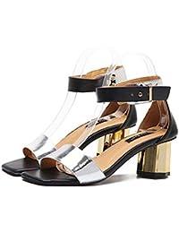 Zapatillas Tacones gruesos Correa de tobillo Sandalias dama Moda Sencillo Dedo del pie cuadrado Punta abierta Hebilla del cinturón Tribunales Zapatos Zapatos casuales Tamaño 35-39 de la UE , silver , 35
