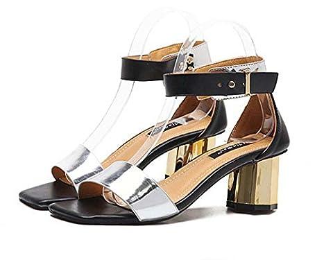 Pompes Chunky Heels Sangle de cheville Des sandales Dame Mode Simple Square Toe Open Toe Boucle de ceinture Courts Chaussures Chaussures décontractées Eu Size 35-39 , silver , 35